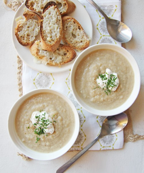 Roasted Cauliflower Soup with Gruyere Croutons