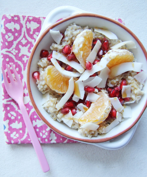 Pomegranate and Coconut Steel-Cut Oats