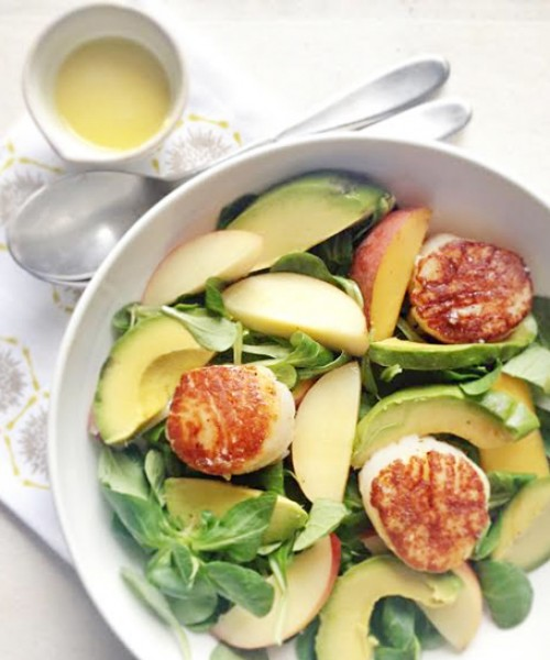 Peach, Avocado and Scallop Salad
