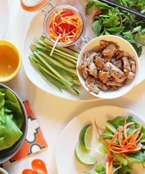 Five-Spice Pork Lettuce Cups with Pickled Heirloom Carrots
