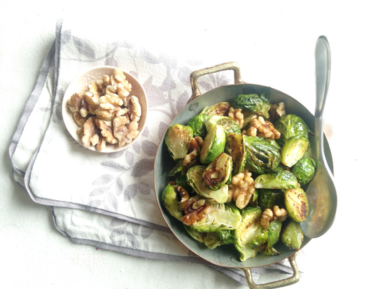 roasted Brussels sprouts with walnuts and grainy mustard sauce
