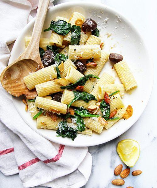 Garlic Rigatoni with Balsamic Onions & Almonds